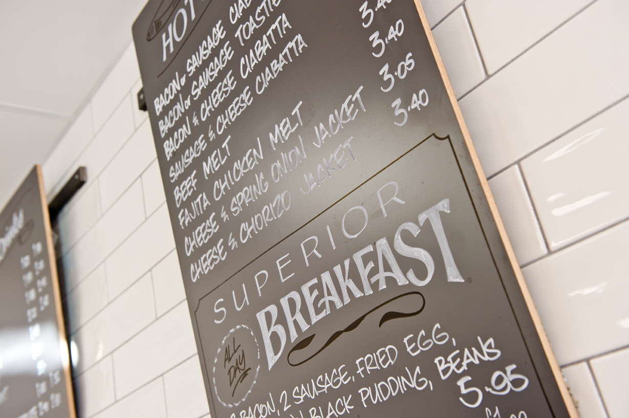 Superior espresso bar menu board