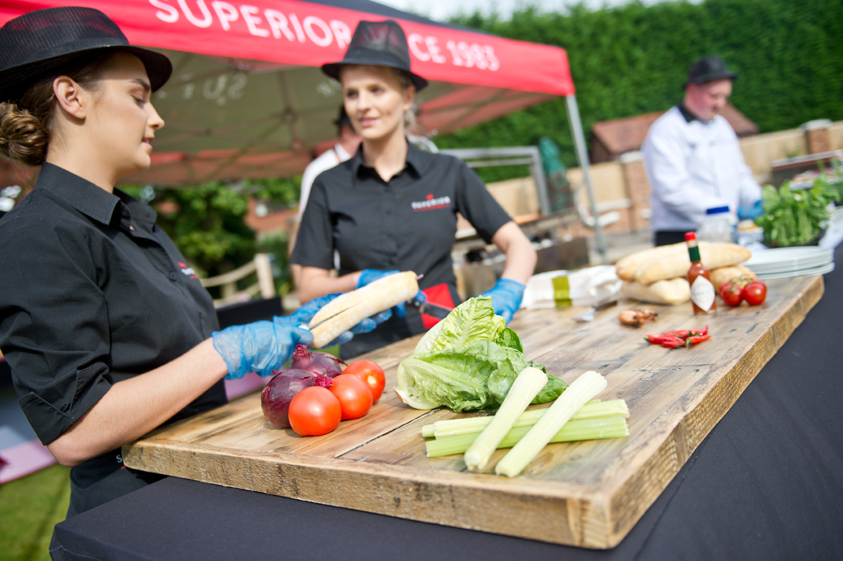 Outdoor bbq catering staff