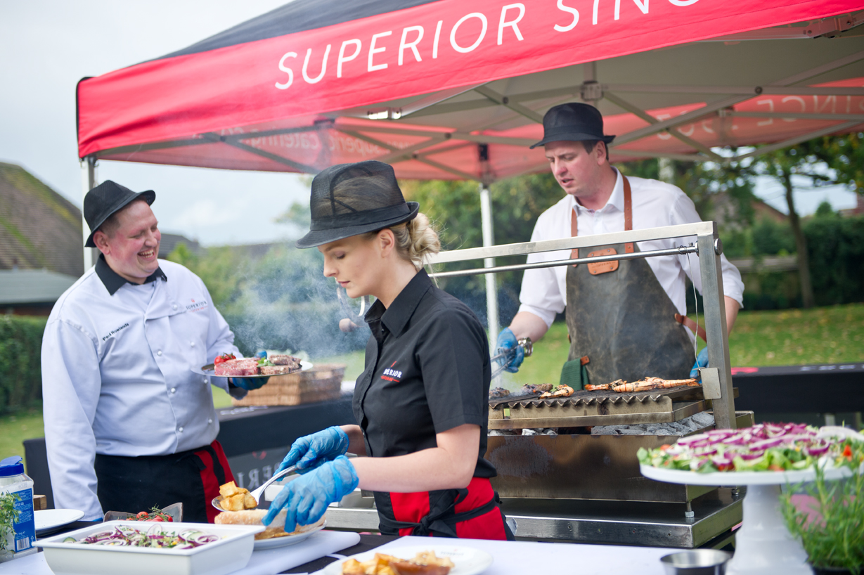 Food being served at an outdoor bbq