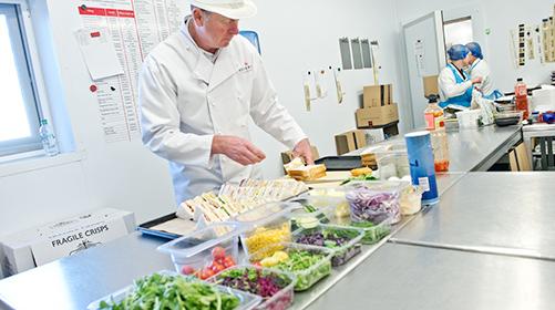 Crew food sandwich preparation