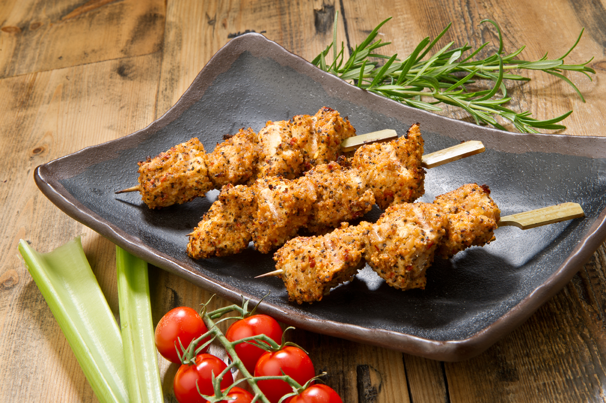 Indoor bbq spicy chicken skewers